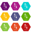 jump rope icons set 9 vector image vector image