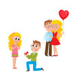loving couple making proposal happy together vector image vector image