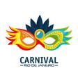 mask carnival rio de janeiro party vector image vector image