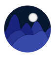 night landscape mountains flat design vector image vector image