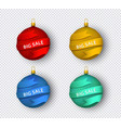 red flat christmas tree ball with ribbon vector image