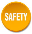 safety orange round flat isolated push button vector image vector image