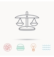 Scales of Justice icon Law and judge sign vector image vector image