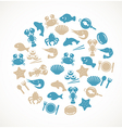 Seafood icons vector image vector image