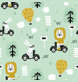 seamless pattern with bunny and lion riding vector image
