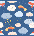 seamless weather pattern with cute faces clouds vector image