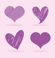 set hearts with different shapes design vector image