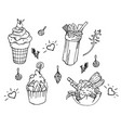 set of coloring book elements with tasty childish vector image vector image