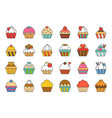 set of cupcake in various style filled outline ic vector image vector image
