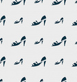 Shoe icon sign Seamless pattern with geometric vector image vector image