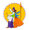 sikh punjabi sardar couple playing dhol and vector image vector image