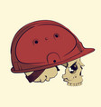skull in a construction helmet vector image vector image
