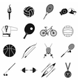 Summer sport black simple icons set vector image vector image