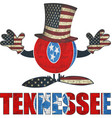tennessee ball with american hat and hands vector image vector image