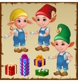 Three dwarf with gifts vector image vector image