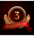 Three years anniversary celebration with golden vector image vector image