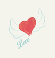 Watercolor heart with wings vector image