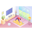 yoga home man doing exercise in room isometric vector image