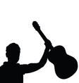 man musician with guitar black vector image
