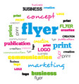 a tag word cloud for flyer and logo design vector image vector image