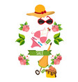 beach things swimsuit umbrella panama hat color vector image