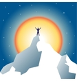 Businessman holding on top of mountain vector image vector image