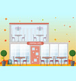 central cafe building facade flat style vector image vector image