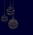 christmas card from three gold christmas ball toys vector image