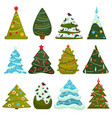 christmas tree evergreen pine decorated with vector image