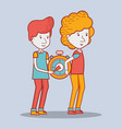 delivery men with pocket clock in the hands vector image