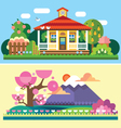 Flat spring and summer landscapes vector image