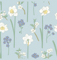 floral seamless pattern daffodils forget me vector image vector image