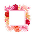 frame with flowers roses tulips colorful vector image
