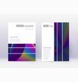 geometric cover design template set rainbow abstr vector image
