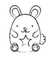 grunge cute mouse animal with star design vector image vector image