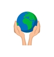 Hands holding globe cartoon icon vector image