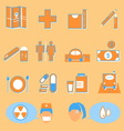 Hospital and medical color icons on orange vector image