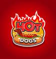 hot dogs logo design template emblem badge vector image