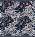 japanese wave with sakura seamless pattern vector image