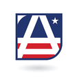 letter A logo emblem in American flag style vector image