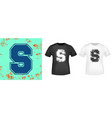letter s retro t-shirt print stamp for tee t vector image