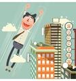 Man flies up with success cartoon vector image