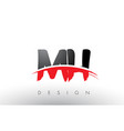 mh m h brush logo letters with red and black vector image vector image