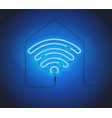 neon sign retro blue neon sign wifi hotspot on vector image