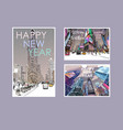 new yorkmerry christmas and year cards vector image vector image