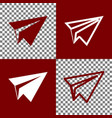 Paper airplane sign bordo and white icons