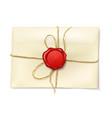 paper envelope with red wax seal vector image vector image