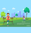 people in park using modern computer technologies vector image