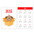 pocket calendar 2018 year week starts sunday shih vector image vector image