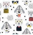 seamless pattern with funny dogs bear and hand vector image vector image